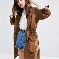 ASOS | ASOS Colourblock Parka in Heavy Wash at ASOS