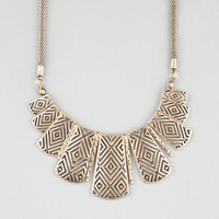 Full Tilt Ethnic Cutout Statement Necklace Gold One Size For Women 24191462101
