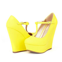 Womens Classic Mary-Jane T-Strap Wedge Platform Pumps Shoes In Yellow