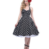 1950s Style Black & White Dotted Halter Mariam Swing Dress