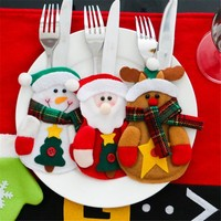 3Pcs/Lot Christmas Decoration For Home  Cutlery Suit Silveware Holders Porckets Knifes Folks Bag Snowman Dinner Decor