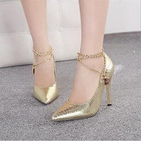 Fashion metal chain pointed high-heeled shoes