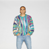 90s Coogi Style Blue Crazy Color Cosby Vintage Sweater