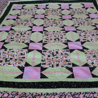 Single Bed Patchwork Quilt /Cosy Couch Throw/Child's Snuggly Blanket/Comfort Blanket,