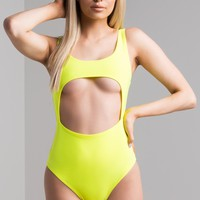 AKIRA Cut Out Front Scoop Neck Bodysuit in Neon Pink, Neon Yellow, White