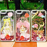 2016 Transparent Glitter Anime Bling Liquid Quicksand Capa Para Funda Case For iphone 5 5s 6 6 s 7 7plus Sailor Moon Phone Case