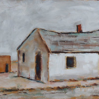 DILAPIDATED DESERT HOUSE - 8 1/8 x 12 - Desert Landscape - Texas - Original Oil Painting - Honeystreasures - Art - Wall Hanging - Home Decor