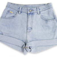 Vintage 90s Lee Light Blue Wash High Waisted Rise Cut Offs Cuffed Rolled Jean Stretch Denim Shorts – Size 28