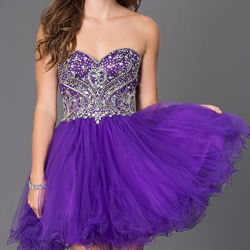 Short Strapless Sweetheart Homecoming Dress