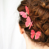 three handmade red silk butterfly hair clips  by katesCottageShop
