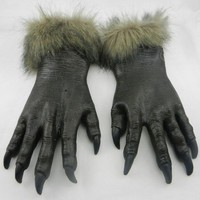 Winter Long Halloween Gloves Toys Silicone Horror Devil Wolf Masks Halloween Party Wolf Gloves Scary Gothic Gloves Joke toys