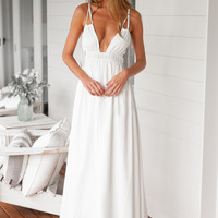 White Strappy Deep V-Neck Maxi Dress