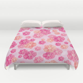 Blossoms Candy Pink Duvet Cover by Lisa Argyropoulos
