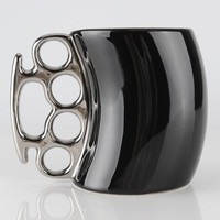 Black Brass Knuckles Handle Coffee Mug