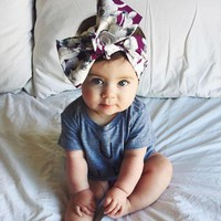 Girls Turban Headband Children Kids DIY Bowknot Headbands Baby Cotton Bow Headwraps Hair Accessories Hair Bands Bandana