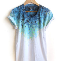 """The Original """"Splash Dyed"""" Hand PAINTED Scoop Neck Pinned Rolled Cuffs Tee in White Spectrum Starscape - S M L XL 2XL 3XL"""