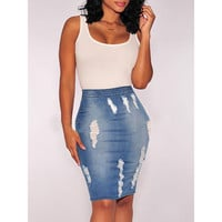 Casual Hole Jeans Skirts Summer Women's Fashion High waist career midi knee length straight pencil skirt