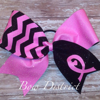 """3"""" Breast Cancer Awareness Neon Pink and Black Chevron Cheer Bow"""