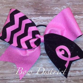"3"" Breast Cancer Awareness Neon Pink and Black Chevron Cheer Bow"