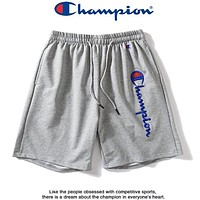 Champion New fashion embroidery letter couple shorts Gray