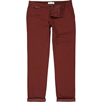 River Island MensWine red slim leg contrast rolled up chinos