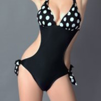 Black Polka Dot Lace Halter Swimwear