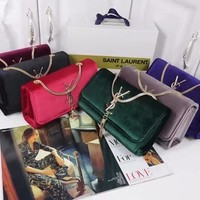 """Yves Saint Laurent YSL"" Women All-match Fashion Velvet Tassel Metal Chain Single Shoulder Messenger Bag Small Square Bag"