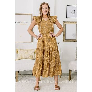It's Undeniable Smocked Spotted Midi Dress