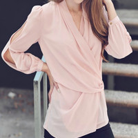 Blouse w/cut out sleeves
