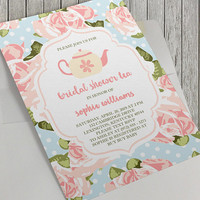 Printable Bridal Shower Invitation, 5x7 in, Bridal Shower Tea, Pink Teapot, Vintage Pink Roses, Pink Rose Pattern, Spring,Baby Shower Option