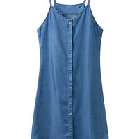 Blue Button Up Denim Cami Dress
