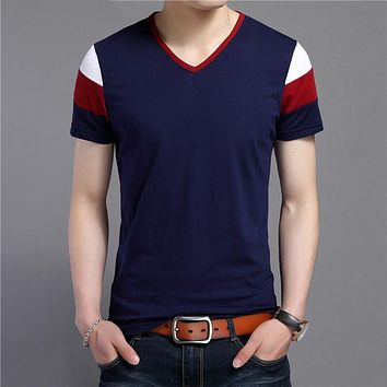 Short Sleeve T Shirt Men Streetwear Fashion Casual V-Neck T-Shirt Summer Tops Soft Cotton Tee Shirt Homme