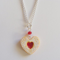 Heart Cookie Miniature Food Necklace Pendant - Miniature Food Jewelry,Handmade Jewelry Necklace Pendant,Mini Food Jewelry