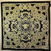 DCCKWA2 Versace Italy 100% Silk Scarf Hand Rolled, Black/Gray/Green, 34' x 34'