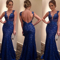 Autumn Blue Lace V-neck Sexy Stylish Mini Backless Prom Dress [4919726852]