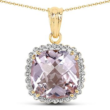 A 14K Yellow Gold Plated Natural 13.6CT Cushion Cut Pink Amethyst & White Topaz Pendant Necklace
