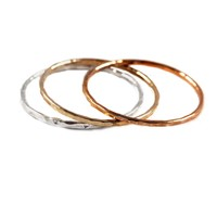 Hammered Mix Metal Stackable Rings, Set of 3