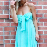 Mint Green Chiffon Strapless Dress with Bow Front Detail
