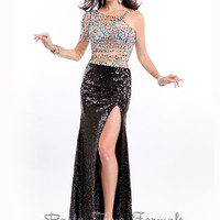 Jeweled Single Long Sleeve Party Time Formal Prom Dress 6507