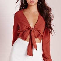 Missguided - Tie Front Blouse Rust