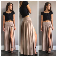 An Egyptian Double Slit Maxi Skirt in Mocha