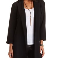 Open Front Duster Blazer by Charlotte Russe - Black