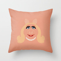 The Muppets Show Vintage Art Miss Piggy Retro Style Minimalist Poster Print Throw Pillow by The Retro Inc