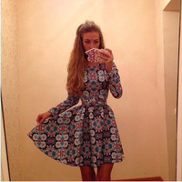 Geometric Print Long Sleeve Skater Dress