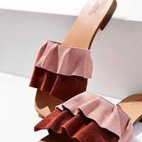 Suede Ruffle Slide - Urban Outfitters