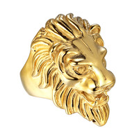 Stainless Steel Mens Lion Ring 41mm Yellow Gold Tone Size 9-10 Custom Unique