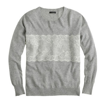 J.Crew Womens Needle-Punch Lace Sweater