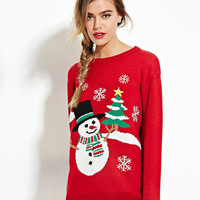 Red Snowman And Tree Knitted Sweater