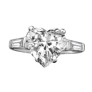 5CT.Intensely Radiant Heart Diamond Veneer Cubic Zirconia with side Baguettes Engagement/Wedding Set in Sterling Silver Ring. 635R71352