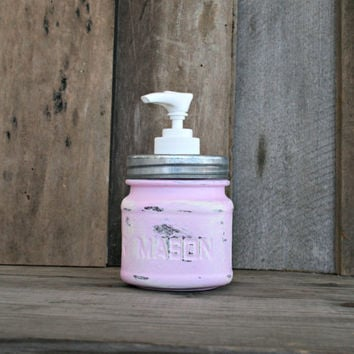 Mason Jar Soap Dispenser - Painted in Baby Pink and Distressed - Rustic, Country, Shabby Chic, Farmhouse, Vintage Style